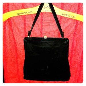 Vintage black velvet satin lined beautiful clutch